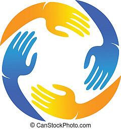 logotipo, mani, lavoro squadra, vettore