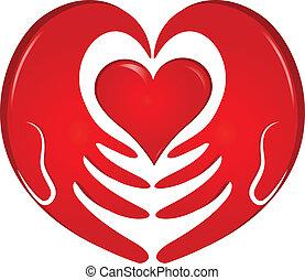 logotipo, mani, presa a terra, cuore