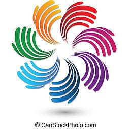 logotipo, mani, solidarietà, squadra