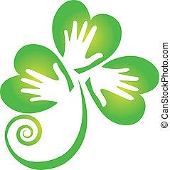 logotipo, mani, trifoglio