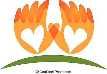 logotipo, mani, vettore, amore, icona