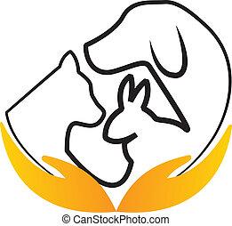 logotipo, mani, vettore, animali domestici, cura