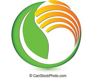 logotipo, mano, ambiental, proteger