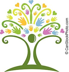logotipo, manos, árbol