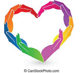 logotipo, manos, caridad, corazón