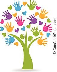 logotipo, manos, corazones, árbol