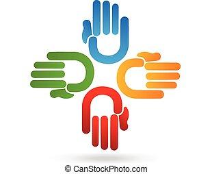 logotipo, manos, equipo