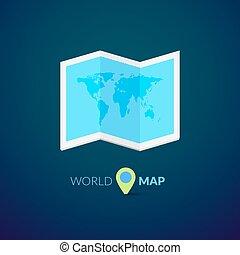 logotipo, mapa, ponteiro, mundo