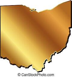 logotipo, mappa, oro, ohio