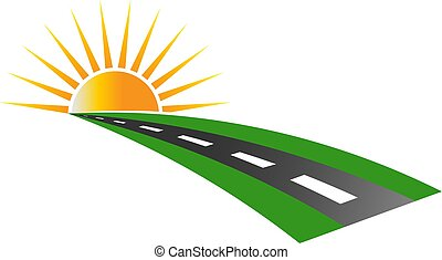 logotipo, marciapiede, vettore, tramonto, strada