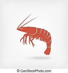 logotipo, mariscos, camarón