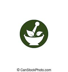 logotipo, medicina herbaria, plantilla