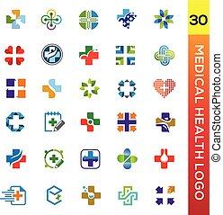 logotipo, medico, colletion, salute