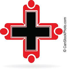 logotipo, medico, lavoro squadra
