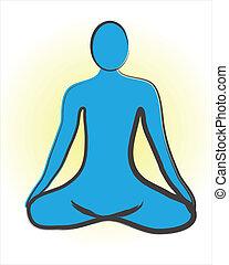 logotipo, meditação