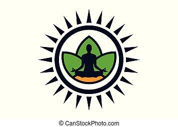 logotipo, meditação, vetorial, ioga, ícone