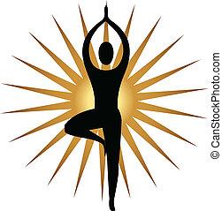 logotipo, meditazione, atteggiarsi, yoga