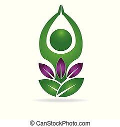 logotipo, meditazione, uomo yoga