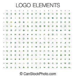 logotipo, mega, colección, resumen, geométrico, empresa / negocio, icono, conjunto