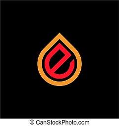 logotipo, mercado de zurique, oil/water, gota, inicial