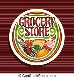 logotipo, mercearia, vetorial, loja