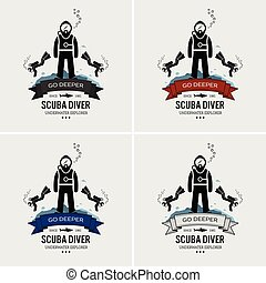 logotipo, mergulhar, scuba, design.