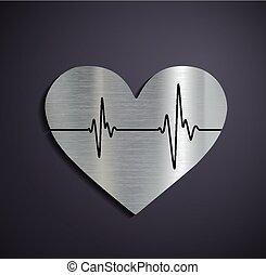 logotipo, metallico, heart., appartamento