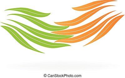 logotipo, mette foglie, mani
