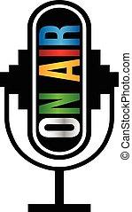 logotipo, microfone, retro, ar
