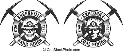 logotipo, mineiro, vindima, carvão