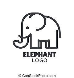 logotipo, minimo, elefante