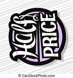 logotipo, mitad, vector, precio, venta