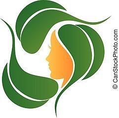 logotipo, moda, naturale, mette foglie, cura