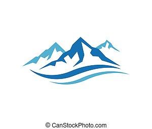 logotipo, modelo, montanhas