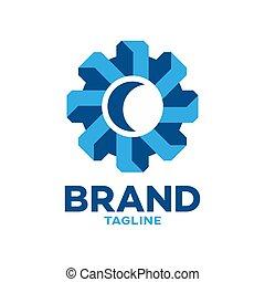 logotipo, moderno, ingranaggio, 3d