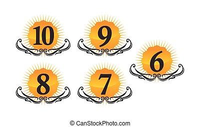 logotipo, modernos, jogo, número