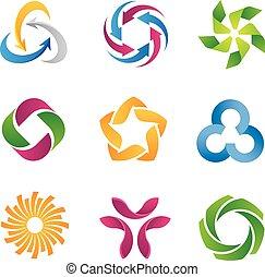 logotipo, modernos, volta, modelo, ícone