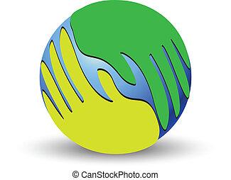 logotipo, mondo, sopra, verde, mani