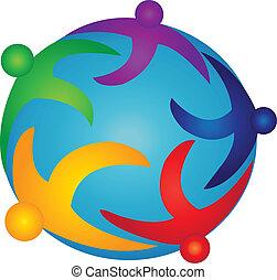logotipo, mondo, squadra, persone