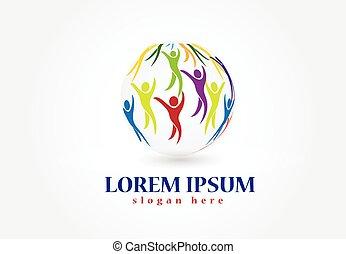 logotipo, mondo, vettore, persone