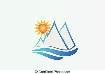 logotipo, montañas azules, y, sol