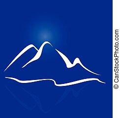 logotipo, montañas
