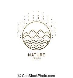 logotipo, montagna, fiume, soleggiato