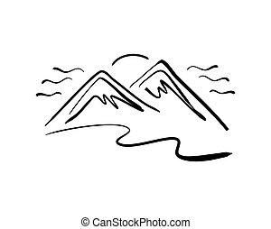 logotipo, montagna, mano, disegnato
