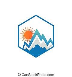 logotipo, montagna, pulito, illustrazione, sole