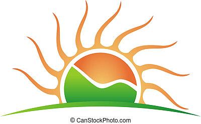 logotipo, montagna, sole