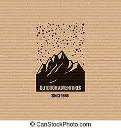 logotipo, montagna, stellato, sky.