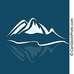 logotipo, montagne