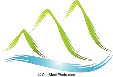 logotipo, montagne verdi