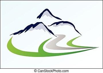 logotipo, montanha, 6